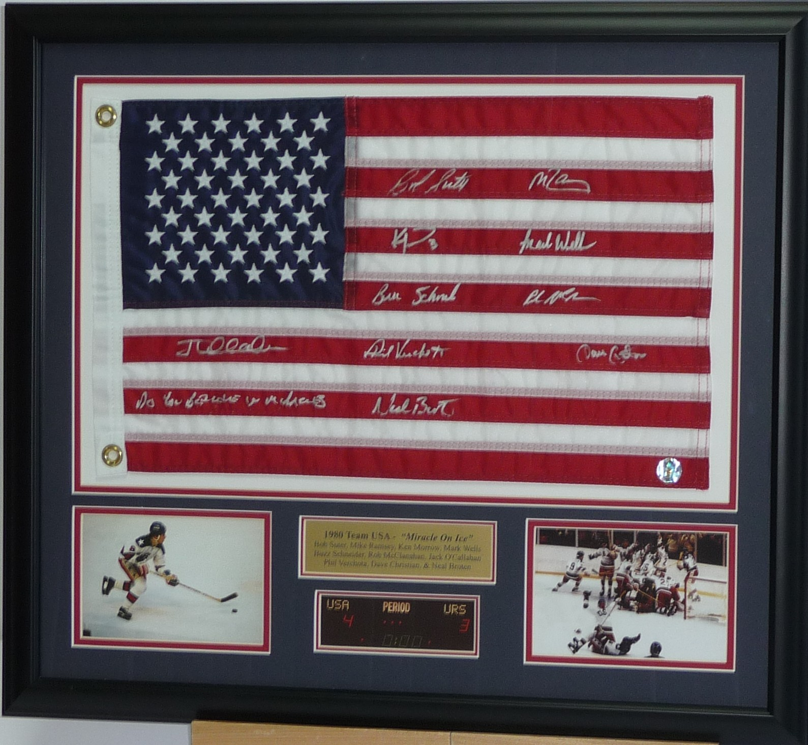 80 USA Flag signed by 10 2