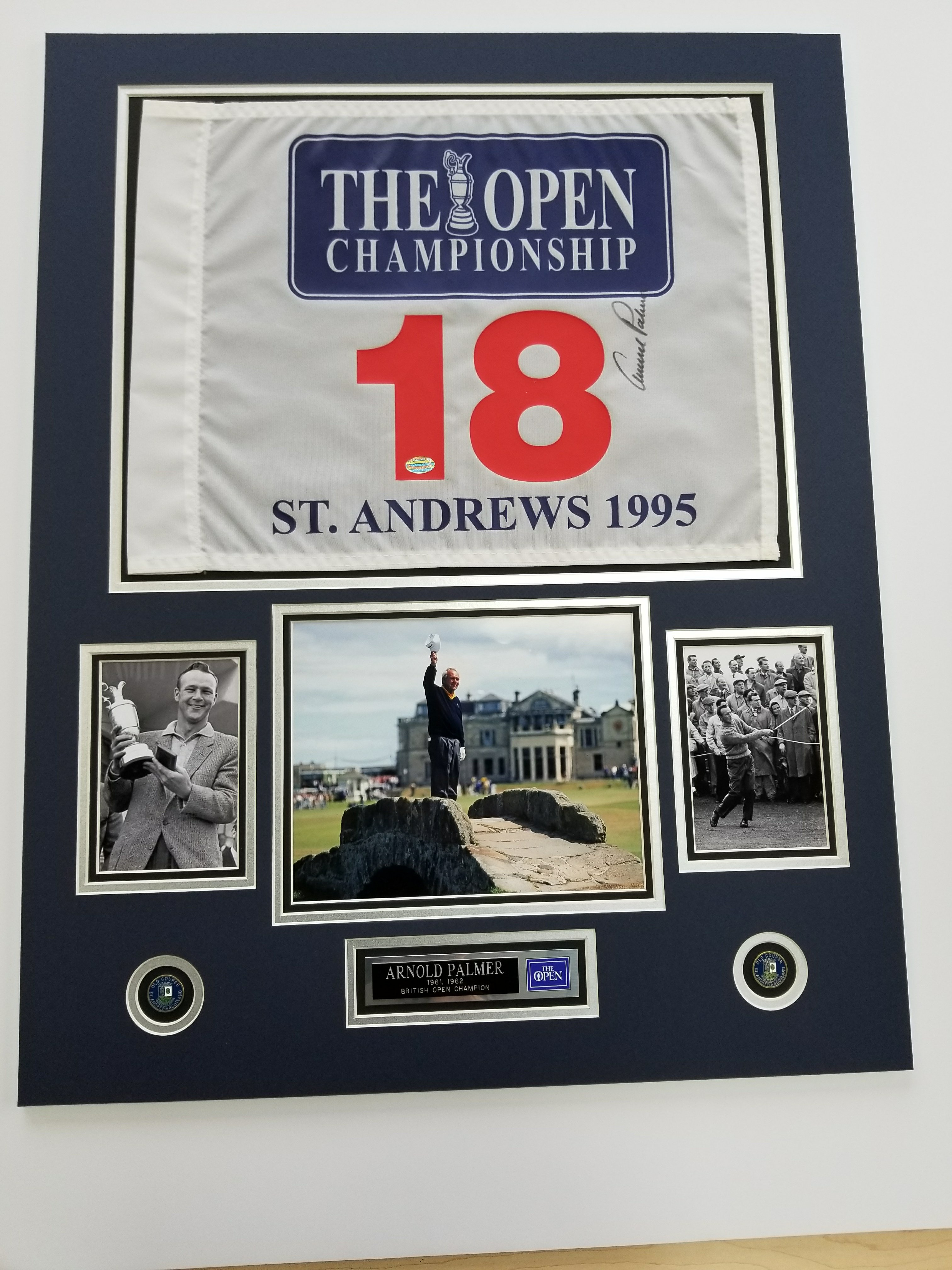 Custom golf flags frame time inc working with a client on a series of custom autographed golf flags with photos medallions plates and various components jeuxipadfo Gallery